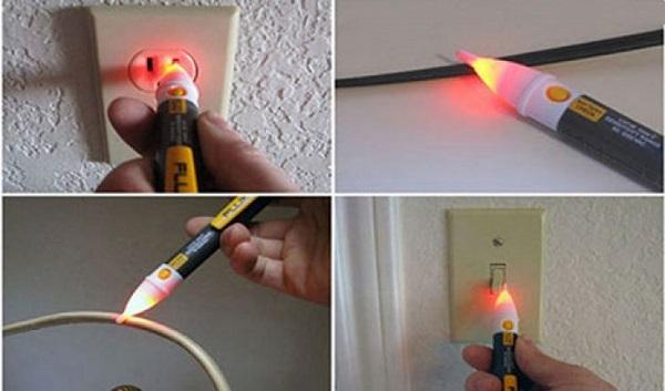 dò dây điện âm tường bằng bút thử điện